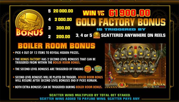 gold factory bonus slot