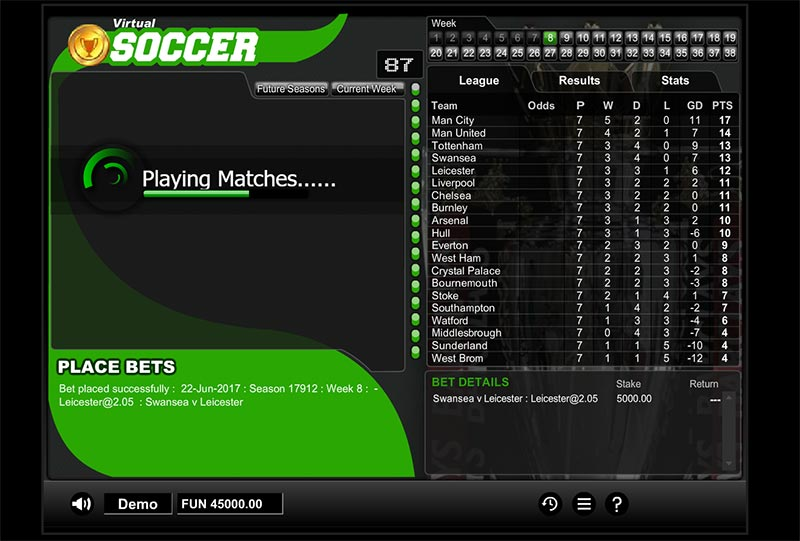 virtual socer playing matches