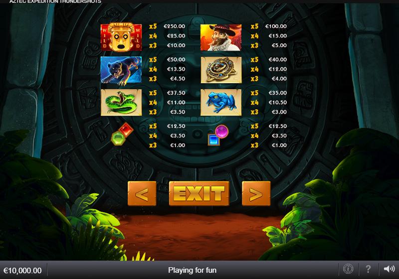 สัญลักษณ์เกม Aztec Expedition Thundershots