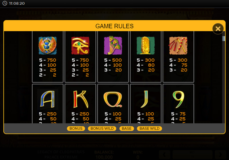 The Legacy Of Cleopatras Palace Extreme Slot สัญลักษณ์